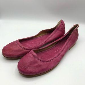 Frye Carson Ballet Flats Fuschia Dark Pink Size 10